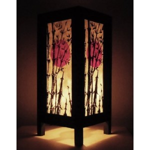 Blue-Art Thai Vintage DIY Handmade Paper Lamp Asia Oriental Japanese Bamboo Sunset Lights Bedside...