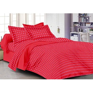 Cotton Single Bedsheet with Pillow Cover - Red