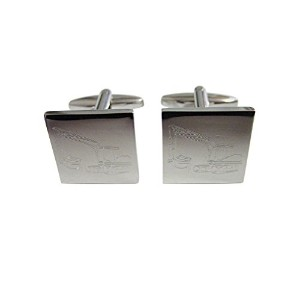 Silver Toned Etched Excavator Cufflinks