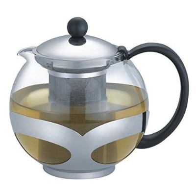 Tempered Glass 3-Cup Tea Pot w/ Removable Steel Infuser by Pride Of India (3-Cup Stainless Steel...