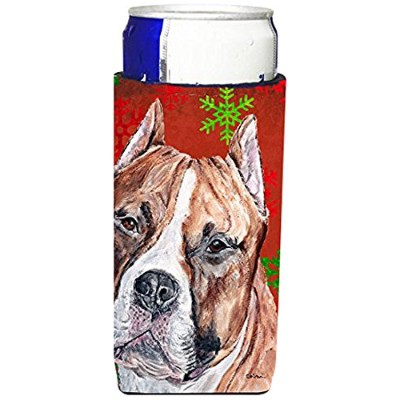 Staffordshire Bull Terrier StaffieレッドSnowflakes Holiday Ultra Beverage Insulators forスリム缶sc9752muk