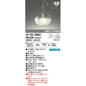 OP252300BC オーデリック 霧きり CONNECTED LIGHTING 自在鉤吊ペンダント [LED][Bluetooth]