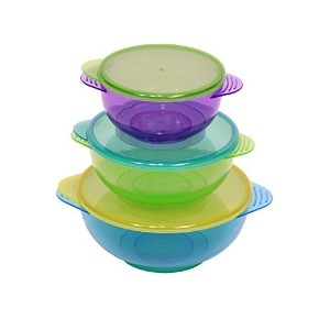 NEW!! Hugabugg Hugabowls. Best baby bowls with 3 bright colorful bowls and 3 lids perfect for...