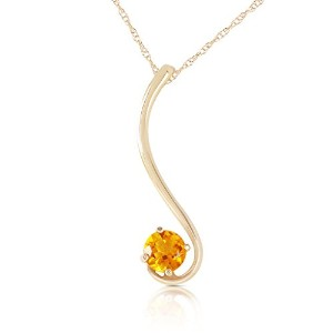 """K14 Yellow Gold 18"""" Necklace with Natural Citrine"""