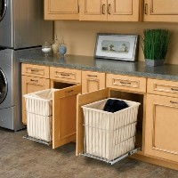 Rev-A-Shelf RHRV-1520S-CR Pull-Out Wire Hamper with Liner - Chrome by Rev-A-Shelf