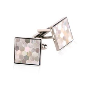 Mother of Pearl Honeycomb Cufflinks by Jewelry Mountain
