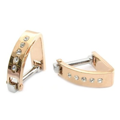 Crystal Wedge Cufflinks inローズゴールドby Jewelry Mountain