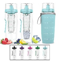 Bevgo Infuser Water Bottle – Large 32oz – Hydrationタイムライントラッカー – Detachable Ice Gel Ball with Flip...