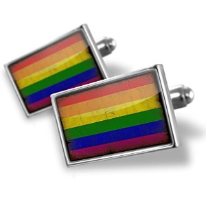 Cufflinks Rainbow Flag with a vintage look–Neonblond