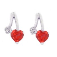 Garnet CZ & Diamond Heart Stud Earrings .925 Sterling Silver Rhodium Finish