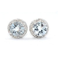14Kt White Gold Genuine Aquamarine Round 2 Carat Diamond Stud Earrings