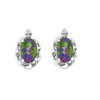 1 Ct Genuine Mystic Topaz & Diamond Oval Stud Earrings .925 Sterling Silver Rhodium Finish