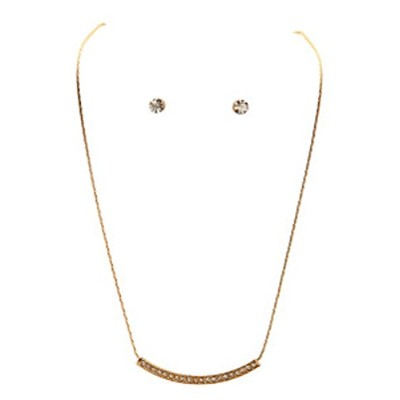 Curved Single Cryネックレス–ゴールドトーンwith Crystals and Matching Studs rai-n15g