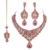 I JewelsレディースTraditional Gold Plated Bridal Jewellery Set With Maang Tikka