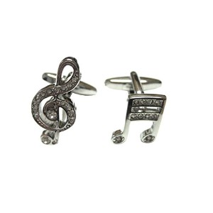 Silver Toned CrystalledさまざまなMusical Notes Cufflinks