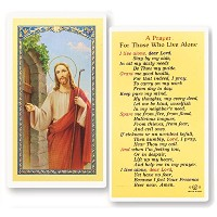 A Prayer for Those Who Live Alone HolyカードBlessed by his Holiness Pope Francis