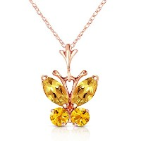"""K14 Rose Gold 18"""" Necklace with Citrine Butterfly Pendant"""