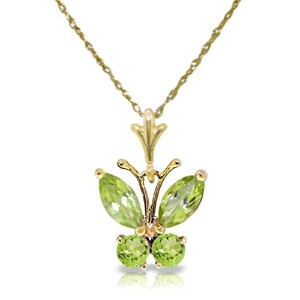 K14 Yellow Gold Necklace with Peridot Butterfly Pendant