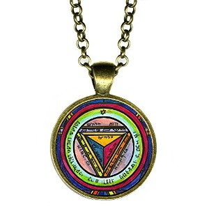 """Solomons 7th Pentacle of the Saturn to make others震えat Your Words 1""""アンティークブロンズゴールドペンダント"""