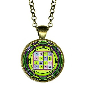 """Solomons 1st Pentacle of the Saturn to make people submit to your wishes 1""""アンティークブロンズゴールドペンダント"""