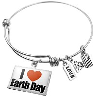 Expandable Wire BangleブレスレットI Love Earth Day、NEONBLOND