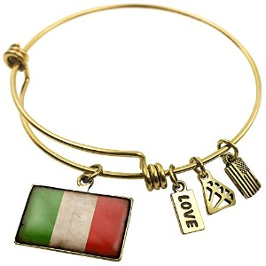 Expandable Wire Bangleブレスレットビンテージ風イタリア国旗with、NEONBLOND