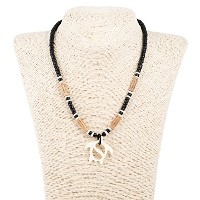 Coco Wood Necklace with Carvedボーン海亀ペンダント