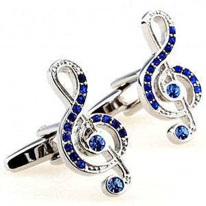 Joyplancraft Musical Note CufflinksキラキラブルークリスタルNOTE Cuff Links Bestギフトto Music Lovers