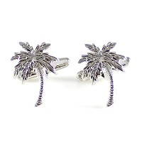 mendepot Palm Tree CufflinkシルバートーンCoconut Tree Cufflink withギフトボックス