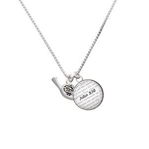 """Silvertone French Horn–Bible verseジョン3: 16ガラスドームNecklace , 18"""" + 2"""""""
