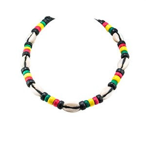 Cowrie Shell Necklace Onブラックコードチョーカーネックレスwith Rasta Colored Coconut木製ビーズ