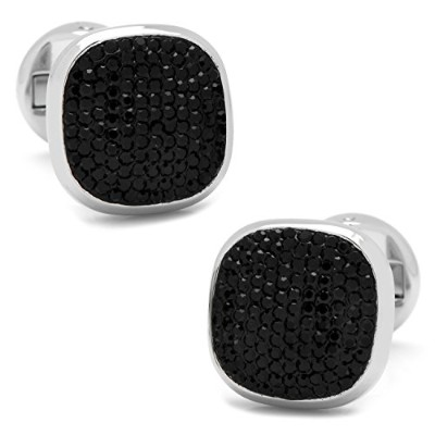 Ox and Bull Trading Co。ステンレススチールBlack Pave Crystal Cufflinks