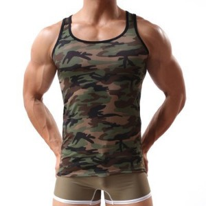 Sexy Round Neck Camouflage Cotton Blend Tank Top for Men