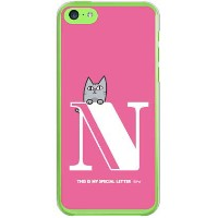 【送料無料】【光沢なし】 letter&cat ピンク N (クリア) design by PansonWorks / for iPhone 5c/SoftBank 【SECOND SKIN】...