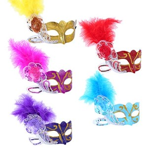 Zhuhaitf コスプレ小物・小道具 5x Masquerade Masks Face Mask Venetian 仮面 Set for Christmas Halloween Costume...