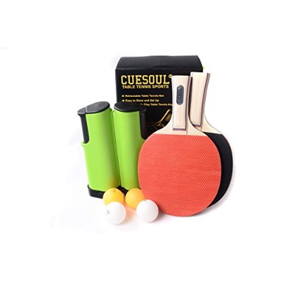 CUESOUL Retractable Anywhere Table Tennis Set with 2 Bats and 4 Balls M1101