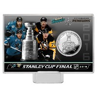 "NHL San Jose VSピッツバーグ2016 Stanley Cup Final Dueling Coin Card、8 "" x 4 "" x 1インチ、シルバー"