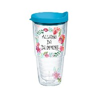 Tervis Watercolor Floral WreathラップTumbler withターコイズ蓋、24オンス、クリア
