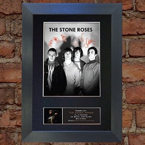 THE STONE ROSES Signed Autograph Mounted Photo Reproduction A4 Print no380 (Black frame)