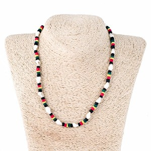 Rasta Coco Wood Necklace with Nassaシェル