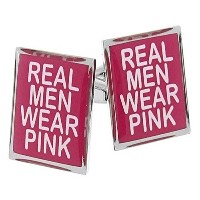Real Men WearピンクカフスボタンBreast Cancer Awareness