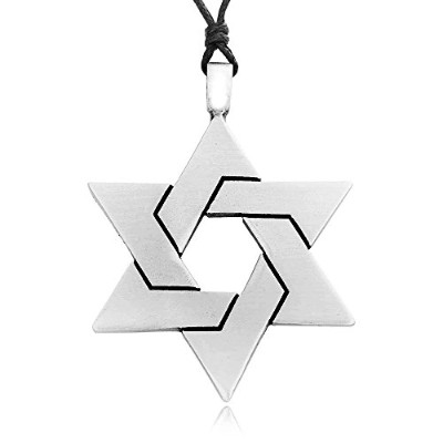 Giant Star Of David Pewter Pendant Necklace