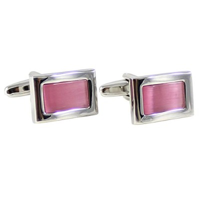 mendepotロジウムメッキWave ShapeピンクCats Eye Stone Cufflink withボックス