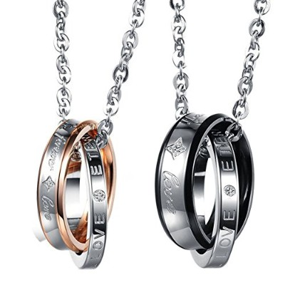 """Cupimatch 2-Piece Stainless Steel""""Forever Love"""" Interlocking Ring Band Pendant Couples Necklaces..."""