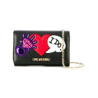 Love Moschino - heart embellished chain wallet - women - レザー - ワンサイズ