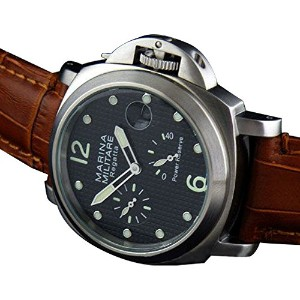 Parnis 44mm Power Reserve Automatic Mechanical Movementステンレススチールメンズ腕時計