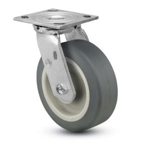 Jarvis 81 Series 6 Diameter Advantage TPR Flat Wheel Swivel Plate Caster with Roller Bearing, 4-1/2...