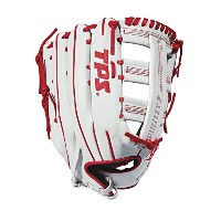 """Louisville Slugger 2018TPS Slowpitchソフトボールグローブ–Right Hand Throwホワイト/レッド、13.5"""""""