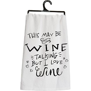 Primitives by Kathy Love Wine Tea Towel, 28-Inch by 28-Inch [並行輸入品]