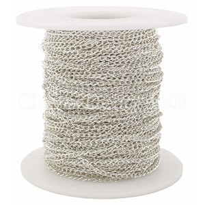 CleverDelights Curb Chain Spool - 2x3mm Link - Shiny Silver Color - 30 Feet - Bulk Jewelry Chain...
